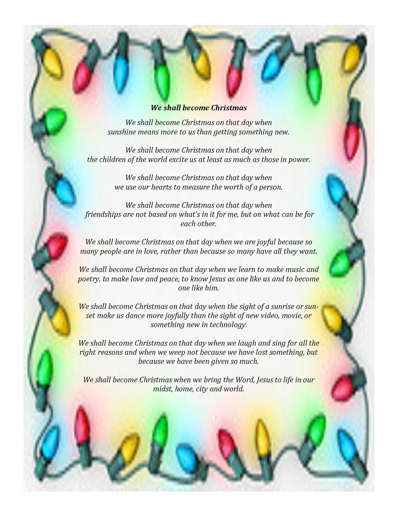 We shall become Christmas - Sisters of the Living Word