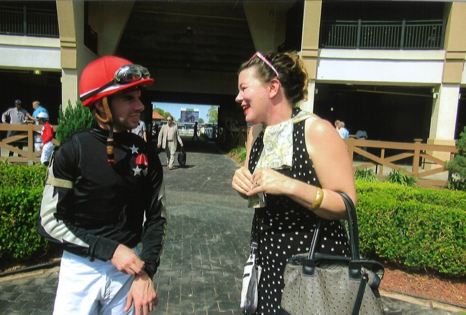 SMR Animal Rescue Event Coordinator Ginne Ribolata Speaking Frenc To Jockey Florent Geraux, Originally From France